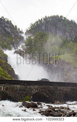 Latefossen Waterfalls In Norway