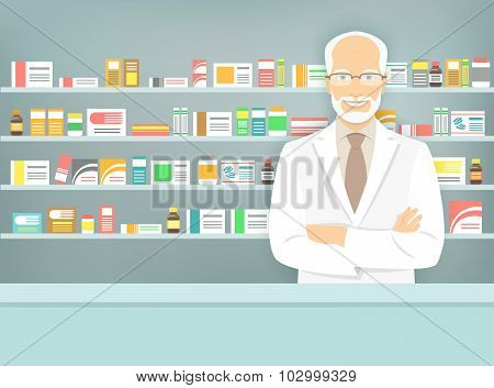 Flat Style Aged Pharmacist At Pharmacy Opposite Shelves Of Medicines