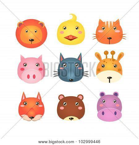 Cute Set of Cartoon Animal Heads Vector Illustration