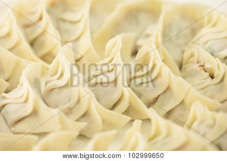 Raw gyoza dumplings wrapped in round flour skins, ready for cooking. Making Asian dumplings. Shallow depth of field.