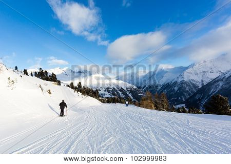 Male Skier On Easy Ski Piste