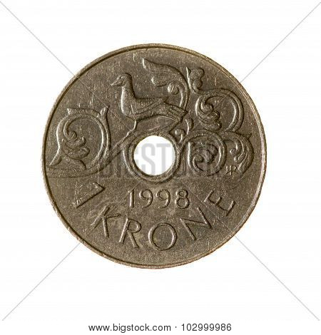 Krone Coin Is One Of Norway Isolated On White Background. Top View.