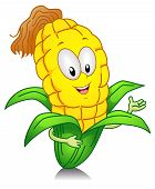 stock photo of sweet-corn  - Illustration of a Sweet Corn Character Presenting Something - JPG