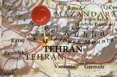 picture of tehran  - Tehran on a map with a red pin - JPG