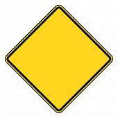 pic of road sign  - Blank diamond shaped road sign with copy space isolated on white background - JPG