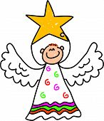image of christmas angel  - happy little boy dressed up as an angel and holding a star for the christmas nativity play  - JPG