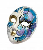 picture of mardi-gras  - handmade carnival venetian mask made of porcelain ceramic isolated over white background with clipping path - JPG