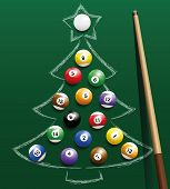 Постер, плакат: Pool Billiard Christmas Tree Balls