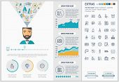 Education infographic template and elements. The template includes illustrations of hipster men and  poster