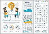 Business infographic template and elements. The template includes illustrations of hipster men and h poster
