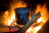 Tourists Kettle On Campfire poster