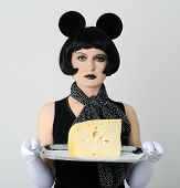 pic of fancy mouse  - woman in fancy dress with plate of cheese - JPG