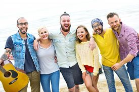 pic of huddle  - Friends Friendship Huddle Vacations Happiness COncept - JPG
