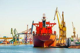 foto of shipyard  - Ship at the wharf in shipyard Gdansk Poland - JPG