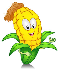 picture of sweet-corn  - Illustration of a Sweet Corn Character Presenting Something - JPG