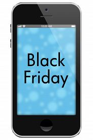 pic of friday  - Black Friday Sale Mobile Phone with words Black Friday isolated on a white background - JPG