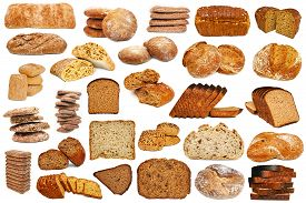 stock photo of fresh slice bread  - Assortment of different types of bread isolated on white background - JPG