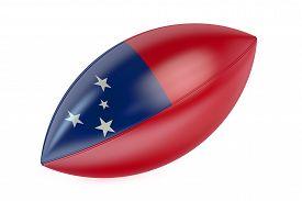 stock photo of samoa  - Rugby Ball with flag of Samoa isolated on white background - JPG