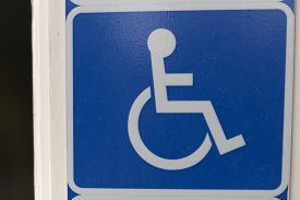 stock photo of handicapped  - A sign for handicap showing that there is special rights and ways to transport your self if you are handicapped - JPG