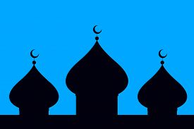 picture of ramazan mubarak  - Silhouette of a mosque over the turquoise background - JPG