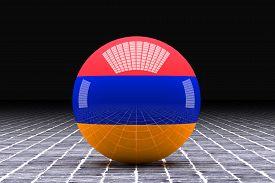 foto of armenia  - 3d rendering of an Armenia flag on a sphere - JPG