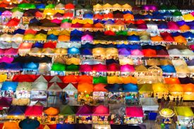 pic of roof-light  - Blurred bokeh lights of aerial view multiple colors flea market roof top - JPG