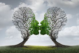 foto of counseling  - Love Therapy and relationship recovery counseling concept as two empty trees shaped as a human head attracted together as a devoted loving couple with kissing lips resulting in a return to a healthy passionate ralation - JPG