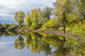 stock photo of novosibirsk  - Fishing in warm autumn day - JPG