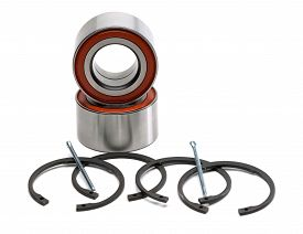stock photo of four-wheel  - Set of two wheel bearings and four retaining rings - JPG