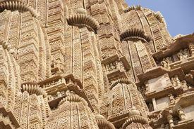 pic of kandariya mahadeva temple  - Shikara tower geometric decorations Kandariya Mahadeva Temple at Khajuraho India - JPG