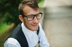 foto of nerd glasses  - photo of young man with nerd glasses - JPG