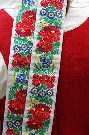 foto of national costume  - Ribbon national costume clothing detail ornament  fashion  - JPG