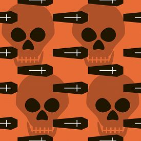 picture of skull cross bones  - Seamless Halloween pattern of coffins crosses and skulls - JPG