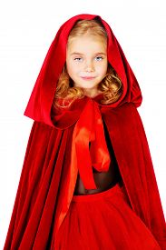 picture of little red riding hood  - Beautiful little girl in a red raincoat with a hood - JPG