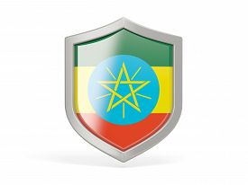 pic of ethiopia  - Shield icon with flag of ethiopia isolated on white - JPG
