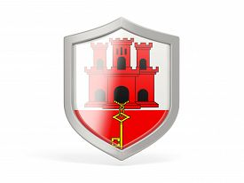 stock photo of gibraltar  - Shield icon with flag of gibraltar isolated on white - JPG