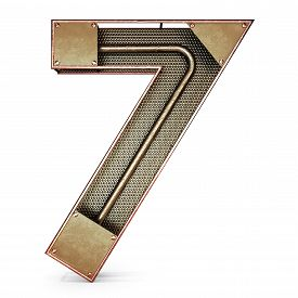 picture of number 7  - 3d number seven 7 symbol with rustic gold metal - JPG