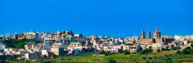 foto of gozo  - Panorama view of Mgarr city with green field - JPG