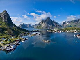 picture of reining  - Scenic aerial view of fishing town Reine on Lofoten islands in Norway - JPG