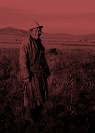 picture of mongolian  - Mongolian Milking Man Standing Scenic View Field Concept - JPG