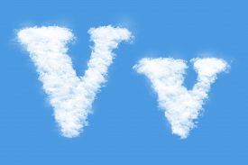 stock photo of v-day  - Clouds in shape of the letter V - JPG