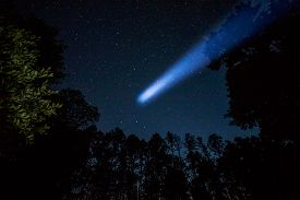 stock photo of comet  - Comet in night sky and trees on background