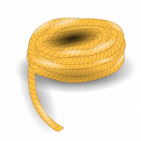 picture of coil  - Coil of Strong Rope Isolated on White Background - JPG