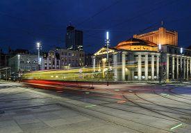 foto of tram  - Wyspianski Theatre and the tram in the evening - JPG