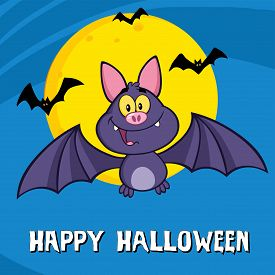 stock photo of vampire bat  - Cute Vampire Bat Cartoon Character Flying Greeting Card - JPG