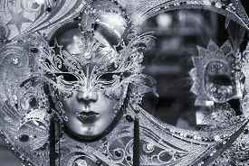 image of venice carnival  - Black and white picture of traditional carnival mask in Venice Italy - JPG