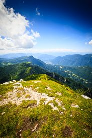 image of italian alps  - Panorama from Italian alps top of a mountain image digitally altered - JPG