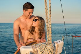 picture of yacht  - Guy hugging his girlfriend - JPG