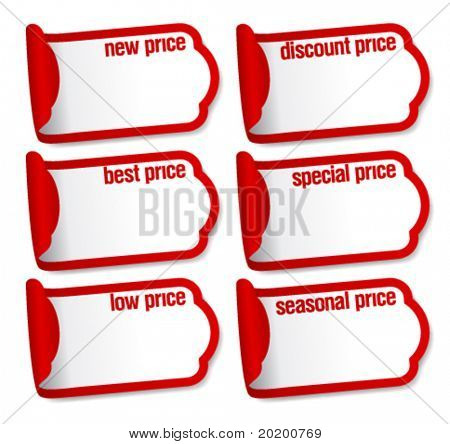 Best price stickers with empty place for prices.