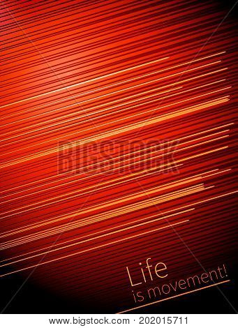 poster of Template Design cover. Life is movement. vector lines and movement on red background for business projects. annual report, book cover, brochure.
